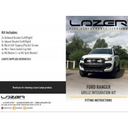 Lazer Lamps Kühlergrill-Montagesatz für Ford Ranger inkl. 2x Triple-R 750 Elite